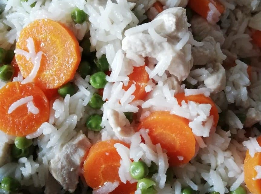 Vitalzeitrezept 3: Hähnchenfleisch, Karotten mit Erbsen, Reis