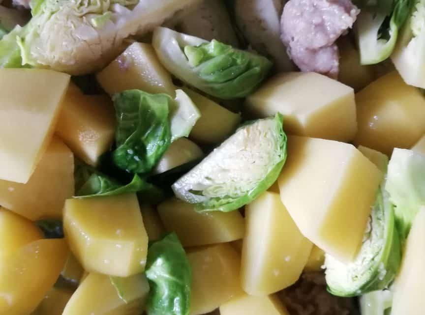 Vitalzeitrezept 4: Hackfleisch, Rosenkohl, Kartoffeln
